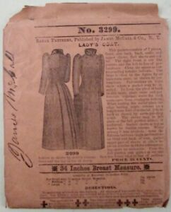 JAMES McCALL ANTIQUE 7 PIECE PATTERN 3299 LADY'S COAT 34 INCH BREAST