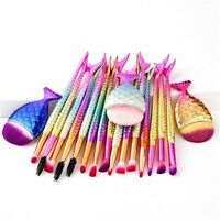 6pcs/11pcs Mermaid Tail Makeup Brush Set Foundation Eyeshadow Cosmetic Brushes