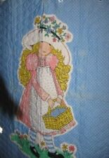 """FABRIC one quilted  panel HOLLY HOBBIE   43"""" x 34"""" New but faded"""