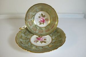VINTAGE PARAGON ENGLAND PINK ROSE CABBAGE ON GREEN GOLD TEA CUP & SAUCER SET