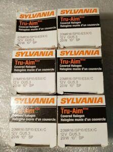 Lot of 6 - Sylvania Tru-Aim Covered Halogen Light Bulb 54305 - 20 Watt - MR16