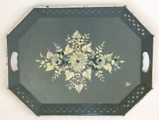 Vintage Hand Painted White Roses Wedgewood Blue Nashco Tole Serving Tray Large