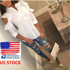 Womens Off Shoulder Button Down Shirts Ruffle 3/4 Sleeve White Blouses Tops Tee