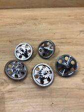 Industrial Machine Age Steel Lot 5 Small Gears Steampunk Art Parts Lamp C