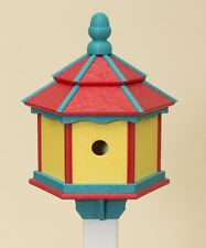 3 ROOM HEXAGON BIRDHOUSE Big Amish Handmade Post Mount Poly ~ Red Aruba & Yellow