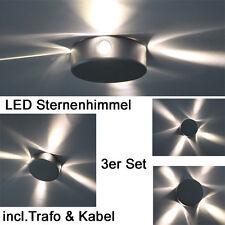 MINI LED Sternenhimmel ALU Aufbauleuchten Lampen Lichtpunkte 3er komplett Set
