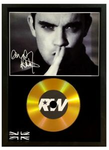 ROBBIE WILLIAMS SIGNED PHOTO - GOLD CD DISC DISPLAY COLLECTABLE MEMORABILIA GIFT