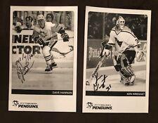 Ken Wregget And Dave Hannan Pittsburgh Penguins Signed 5x8 Promo Photo Rare