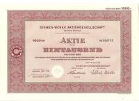 Girmes - Werke AG Oedt bei Krefeld histor. Aktie 1960 mit Kupons Samt und Seide