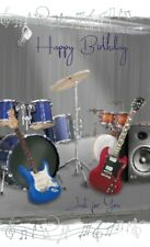 "Open Male Birthday Card - Drum Kits, Electric Guitars & Music Notes 9"" x 5.25"""