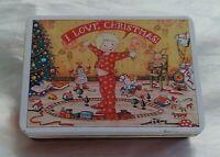 Vtg 1987 Mary Engelbreit CHRISTMAS TIN I LOVE CHRISTMAS  W/TAG Hong Kong 5.5 × 4
