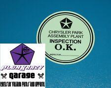 CHRYSLER VALIANT PRE DEALER INSPECTION DECAL (EARLY) R S AP5 AP6 VC VE VF