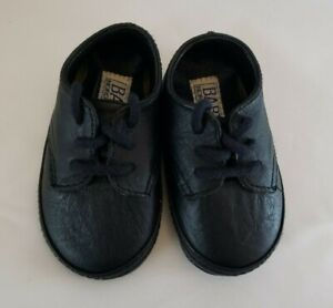 Nordstrom Infant Baby Crib Shoes Size 2 Black Leather Lace Up