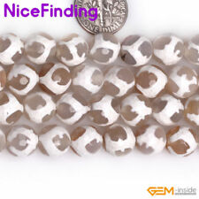 """10mm round faceted gemstone white football color agate beads strands strand 15"""""""