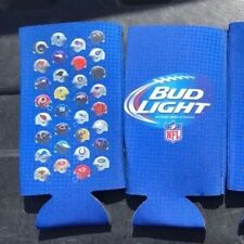 Two 3D Helmet Nfl Bud Light Beer 24 oz Bottle Can Koozie Coozie Coolie