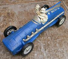SUPERB HEAVY CAST IRON MICHELIN MAN BIBENDUM IN BLUE RACING CAR,HUBLEY 1934
