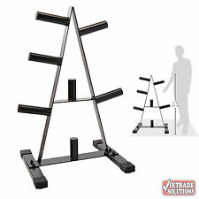 CAP Barbell Olympic Weight Set 2-Inch Plate Rack Stand Metal Storage Rubber Base