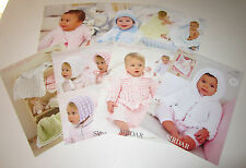 LOT of 7 Sirdar BABY SNOWBALL knitting yarn pattern Leaflets Newborn to 7 years