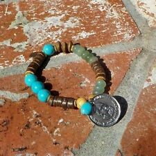 TURQUOISE SERPENTINE COCONUT SHELL GOLD BEAD BRACELET W/ COIN WITH FREE SHIPPING