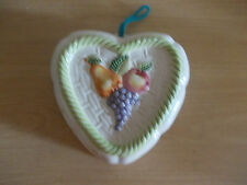 VINTAGE HEART SHAPED CERAMIC JELLY MOULD WALL HANGING