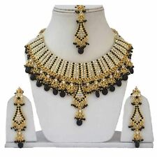 Gold Plated Jodha's Kundan Zerconic Bollywood Necklace Set Earrings Tikka ES5