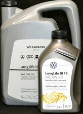 5+1 Liter ORIGINAL VW Audi Seat Skoda Motoröl 0W30 LongLife III 0W-30 GS55545M4