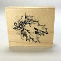 "INKADINKADO Christmas Holiday Holly Leaves Berries Rubber Stamp 2.4"" x 2"" 98309"