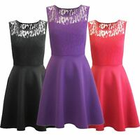 Womens Ladies Mesh Lace Insert Top Flared Sleeveless Mini Swing Skater Dresses