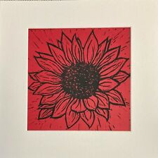 SUNFLOWER  - LINO PRINT - SIGNED ART ORIGINAL - RED