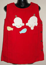 New 100% Cotton Red Dungaree Pinafore Dress Size Age Medium M 6-8 Years