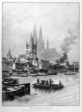 Köln, Ansicht nach Mannfeld, Riesen-Holzstich von 1898