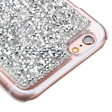 for iPhone 6 / 6S - SILVER Crystal Rhinestone Stud Hard Diamond Bling Case Cover