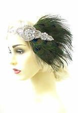 Silver Peacock Feather Headband 1920s Great Gatsby Flapper Headpiece Green 947