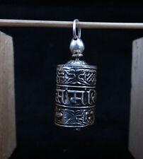 Buddhism Om Mantra Prayer Wheel 925 Silver Oxide Amulet Pendant Nepal P30 free