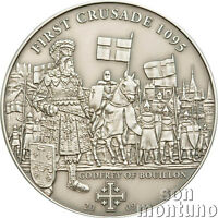 1st Crusade - GODFREY OF BOUILLON - Antique Finish Silver Coin 2009 Cook Islands