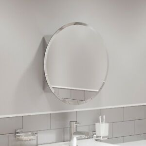 Round Door Bathroom Mirror Cabinet Cupboard Stainless Steel Wall Mounted 500mm