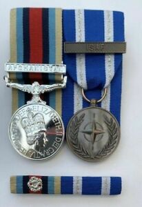 Full Size Medals OSM Afghanistan + Clasp & NATO ISAF + clasp & Pin Ribbon Bar