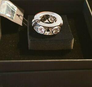 Otazu Ring  silberfarben mit Kristallen ringsherum, Neu