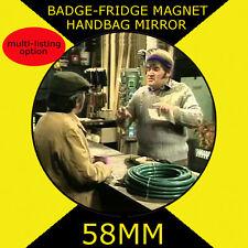 TWO RONNIES - FORK HANDLES- 58 mm BADGE-FRIDGE MAGNET OR HANDBAG MIRROR CD21