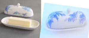 Pottery Barn Sophia Willow COVERED BUTTER DISH Blue & White Crackle Glaze NWOT