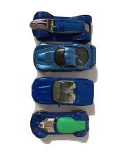 Hot Wheels- Matchbox Lot Of 4 Blue 2000 Racing Cars E86