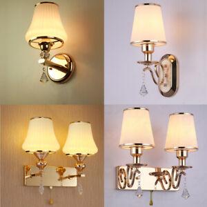 Modern polished gold glass wall lamp 4 type optional single & double head lights