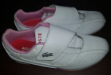 LACOSTE Sport Womens Girls White & Pink Leather Shoes Sneakers Tennis Size 5