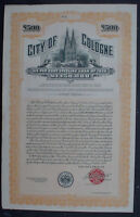 City of Colone 500 £ P. Sterling Bond + Signatur Adenauer, 1928 unentw. + Kupons