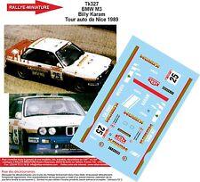 DÉCALS 1/18 réf 327 BMW M3 Billy Karam Tour auto de Nice 1989