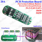 3S 20A 11.1v 12.6v 3 Pack 18650 Li-ion Lithium Battery Cell BMS Protection Board