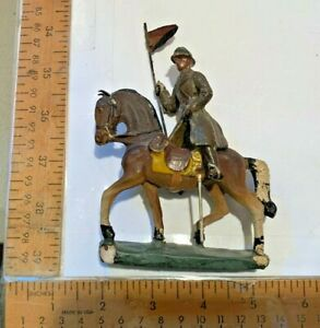 Composition Vintage Toy Soldier Mounted w Horse Flag Bearer WWI Durso Belgium