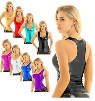 Women Shiny Crop Top Wetlook Tank Top Yoga Sport Blouse Racer Back Vest Clubwear