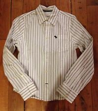 ABERCROMBIE Boys dress SHIRT WHITE Pinstripe Large BUTTON  Long Slv Muscle Fit
