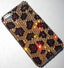 Bling Back Case for iPhone 7 made with Swarovski Crystals - Gold Leopard Design